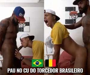 Torcedor brasileiro com o cu massacrado pelo negão pirocudo