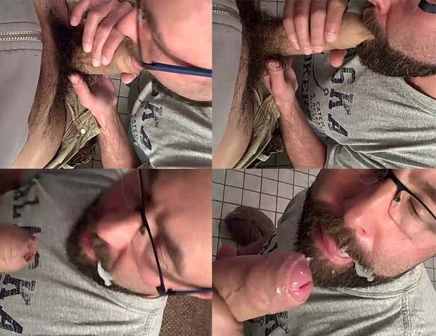 gordinho chupa pau peludo gozada na barba