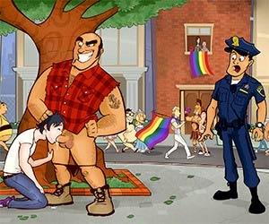 Mamei um cara no meio da Parada Gay