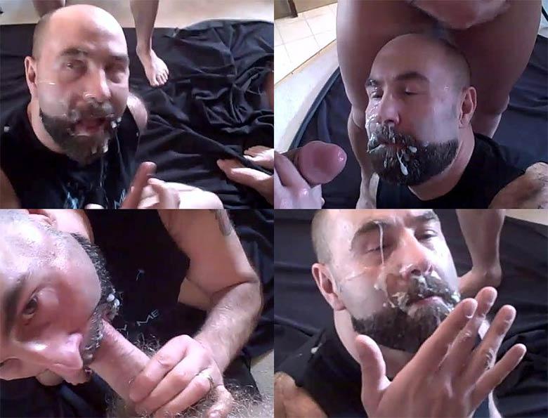 varios paus banho de porra na cara gay