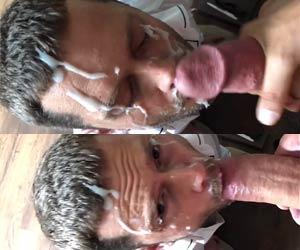 Banho de porra na cara depois do boquete