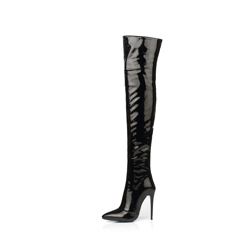 f3ab705738f8 Ultra Sexy Patent Leather Over Knee High Heel Boots - Boy to Girl