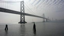 Amazing views of the bridge in the fog.