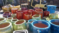 Unpacking pottery at Flora Grubb Gardens, perfect colors for Pride Week in SF!