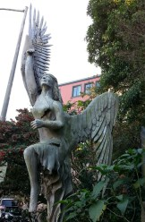 A homeowner on Shrader in Cole Valley had a Monterey cypress that needed to come down. The solution? Carve the trunk into a sculpture of Winged Victory.
