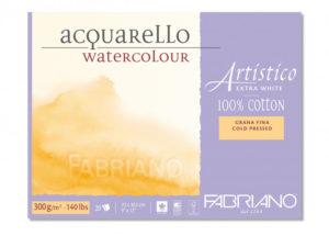 Fabriano Artistico extra white 300 grs.Bloc 20 feuilles .Grain fin