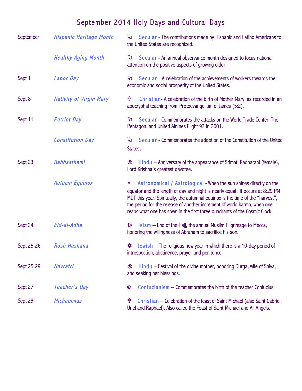 September 2014 Issue: September 2014 Calendar Of