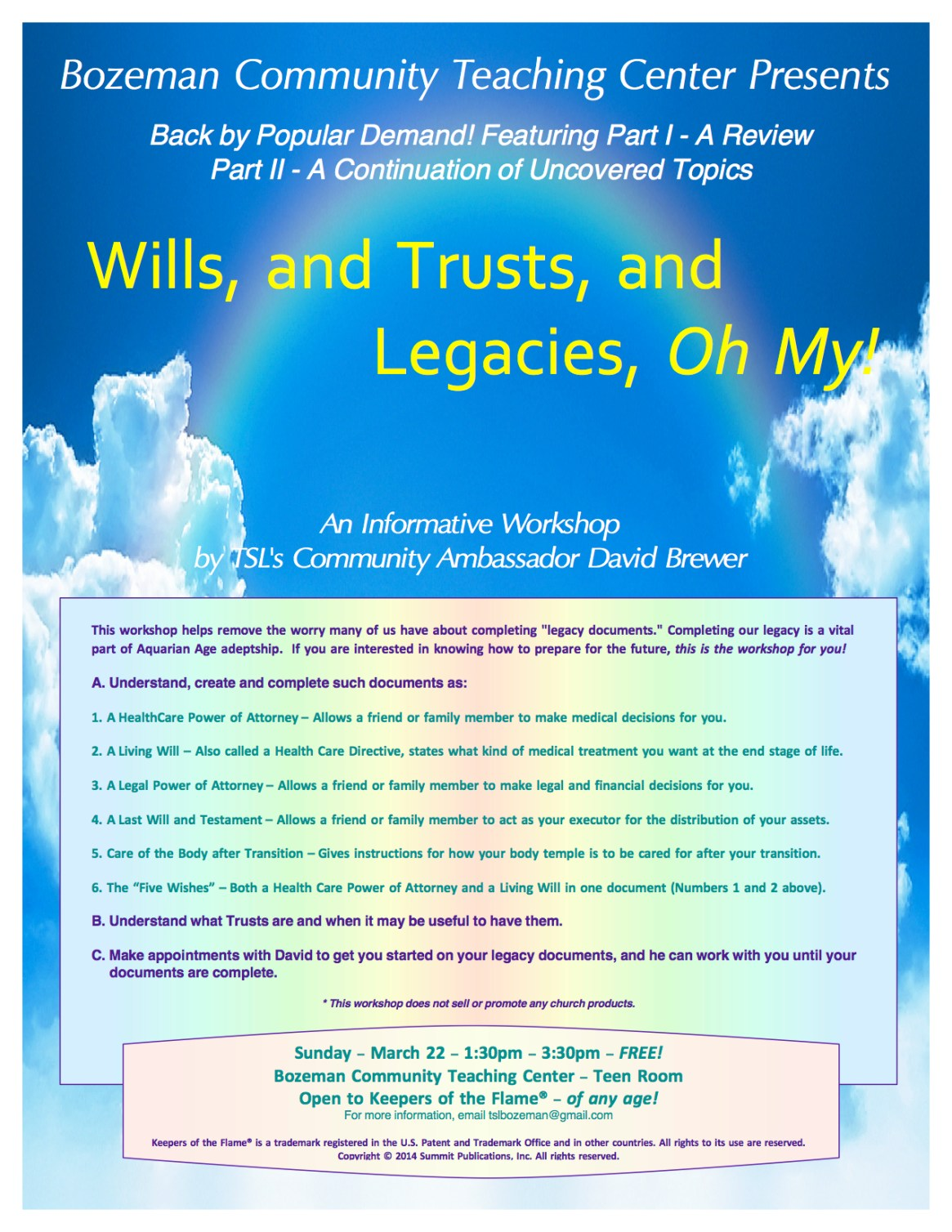 March Wills Workshop