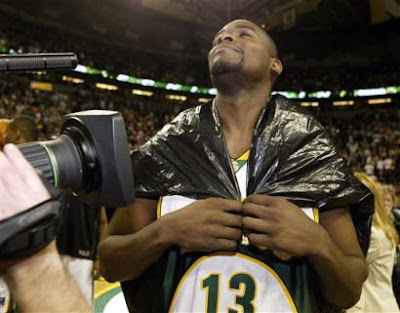 Takes a special man to wear a garbage bag on the basketball court.  Jerome James is just that special.
