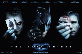 The Joker (Heath Ledger), Batman (Christian Bale) and Harvey Dent (Aaron Eckhart)