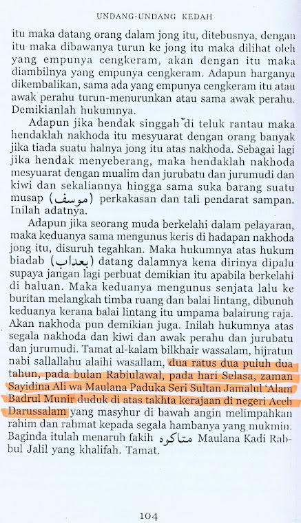 Undang-Undang Kedah-Penutup