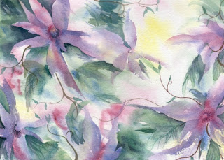 Expressly Clematis watercolor painting by Angela Fehr