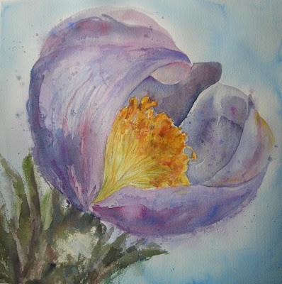 Crocus painting titled Inaugurating Spring by Angela Fehr