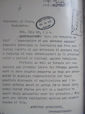 1915 letter from U.S. ambassador to Turkey