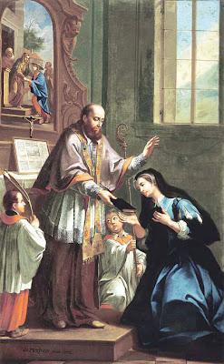 São Francisco de Sales recebendo os votos de Santa Joana de Chantal