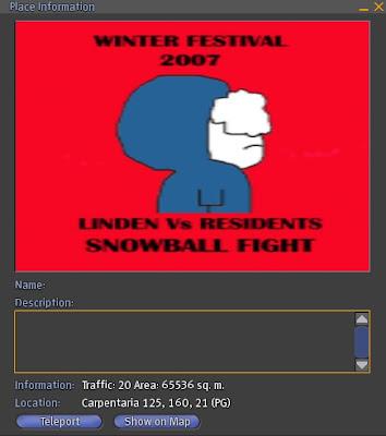 Battaglia Second Life a palle di neve