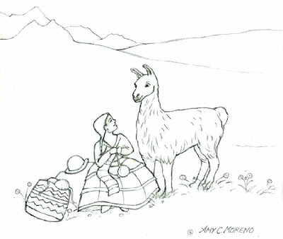 Color It In: Bolivian Girl and Llama Coloring Page