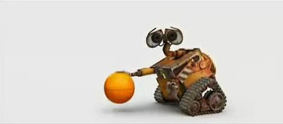 Wall-E plays basketball.