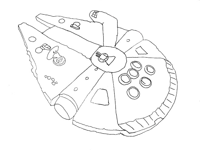Free coloring pages of millenium falcon