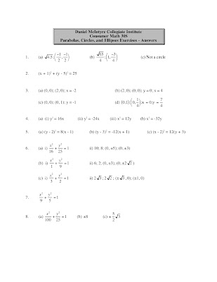 Pre-Cal 40S (Winter '07): Today's Slides and Homework: May 9