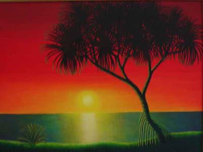 Lukisan Pemandangan Waktu Senja Di Tepi Pantai  Foto