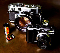 Photograph of one rangefinder and a digital camera