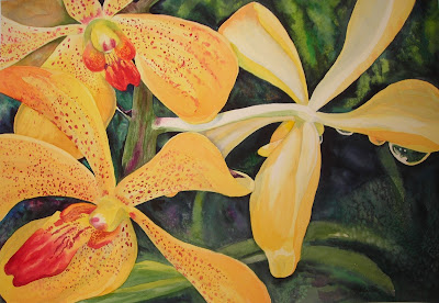 Freckled Orchids Watercolor flower painting by Angela Fehr