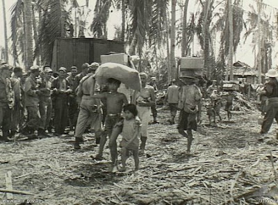 Philippines People Filipino Pinoy Pilipinas Old Black White Pictures evacuation leyte world war II WWII noon