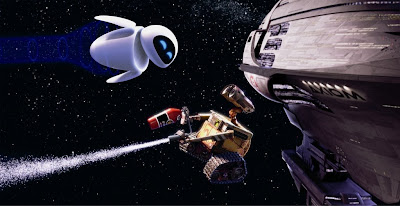 Wall-E using an extinguisher and Eve in the void of space near the spaceship.