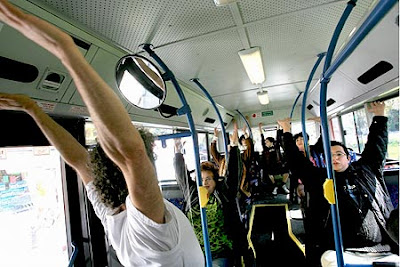 Yoga on bus