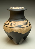 Designed Stoneware Tripod Vessel by Charles Smith