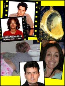 Charlie Sheen, Hugh Grant, Heidi Fleiss, toilets
