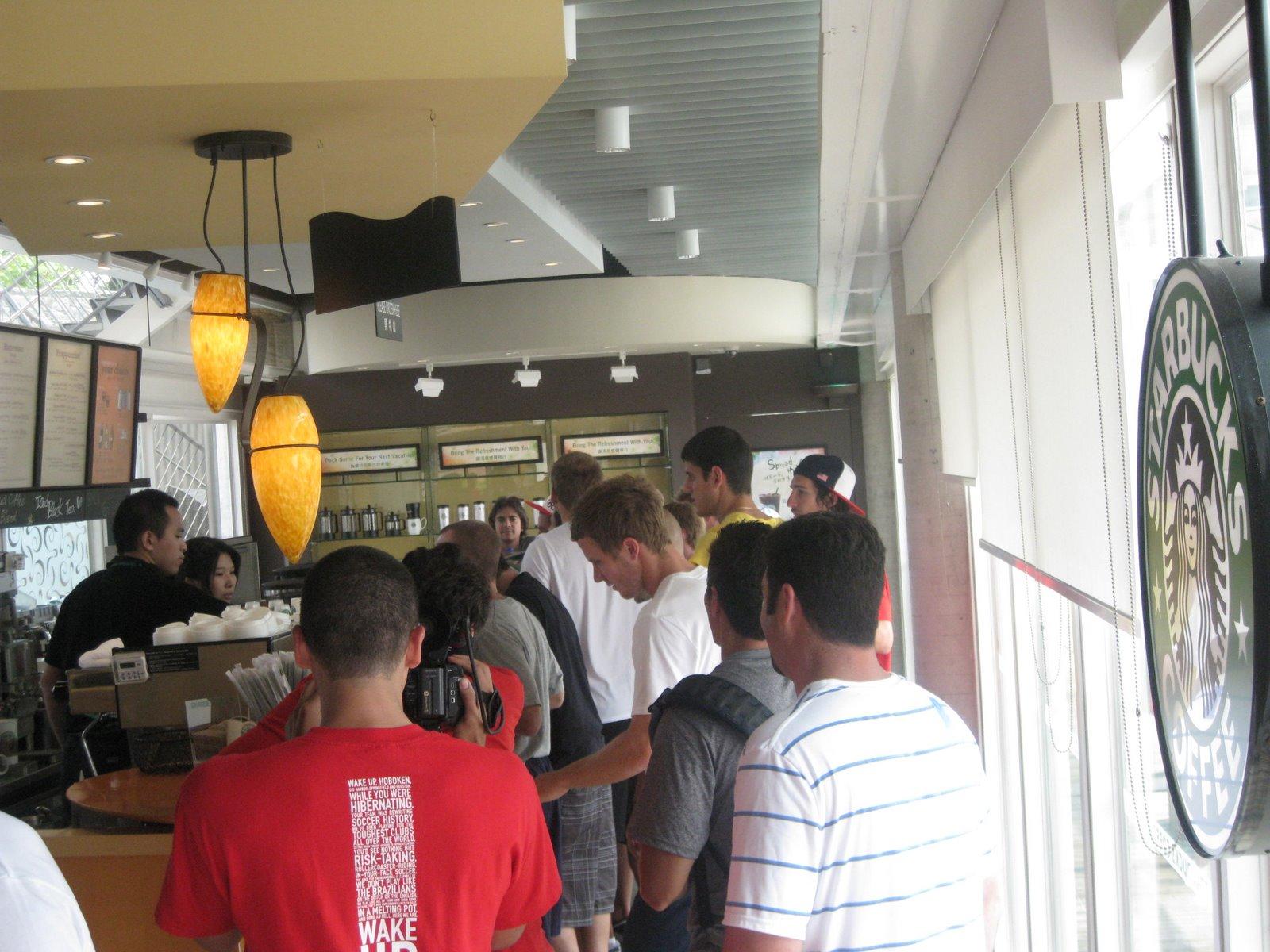 Olympians experiencing Hong Kong, at Starbucks. (USSoccer YNT-blog)