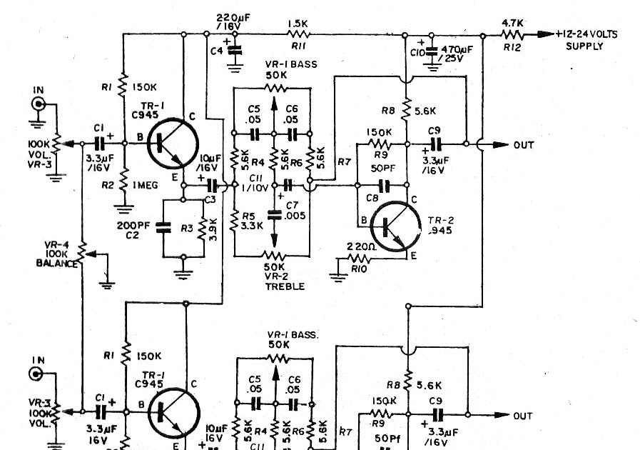 Power Amplifier: 2 Transister (C945) tone control Stereo.