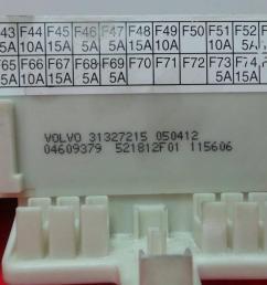 fuse box 31327215 04609379 volvo v50 545 1 6 d2 5 doors [ 1536 x 864 Pixel ]