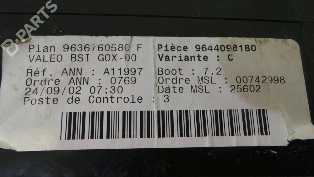 medium resolution of fuse box 96 367 605 80 f peugeot 307 3a c 2 0