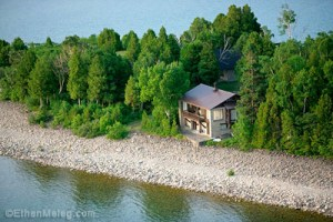 Grebe Lodge sits on the shoreline of Georgian Bay at the Cabot Head Research Station.