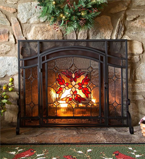 Stained Glass Fireplace Screen with Door