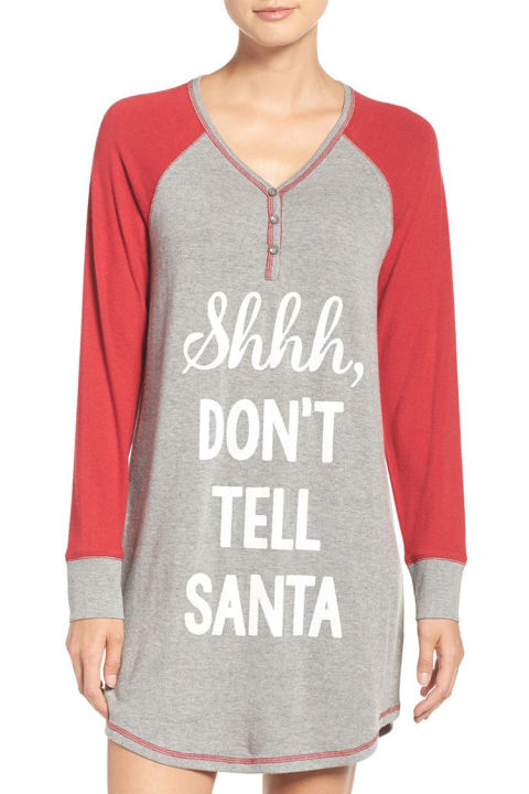 $48 BUY NOW Trying to stay on the nice list? Wear this nightshirt as a reminder to keep things on the down-low. It's made from a soft jersey material that you'll love lounging in, and is the perfect outfit to wear on Christmas Eve.