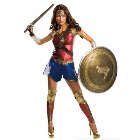 $330 BUY NOW She's officially crushed (and we mean c-r-u-s-h-e-d) the summer box office, and just about everyone is waiting in line to dress like their favorite superhero, Wonder Woman. Look just like the badass herself in this costume fit for a warrior. Shield and sword sold separately. More: Get Inspired By These Perfect Wonder Woman Costume Ideas