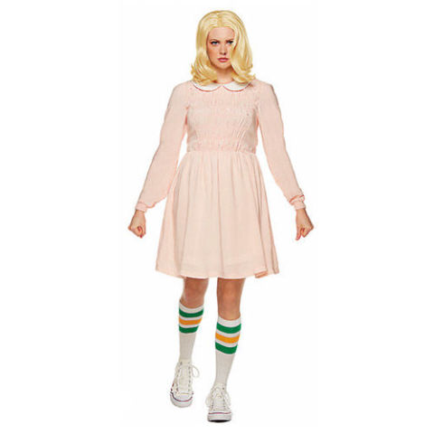 $50 BUY NOW You can stop looking everywhere for a replica of Eleven's pink dress from Stranger Things; Spirit Halloween now sells an officially licensed costume. Just make sure you get the right wig and socks.   More: Group Halloween Costumes That Are Sure to Be Crowd-Pleasers this Year