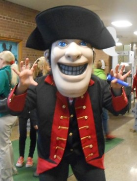 The John Marshall mascot is the Lawyer, based on 4th Supreme Court Chief Justice John Marshall. The mascot is shown getting into the Halloween spirit for a JMH festival for elementary students put on by the senior class.