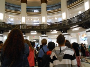 looking up at downtown Heinen's rotunda on the 2nd field trip this summer