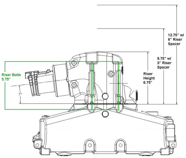 Riser Exhaust Dry Joint for Mercruiser 7 Degree 4 Inch V6