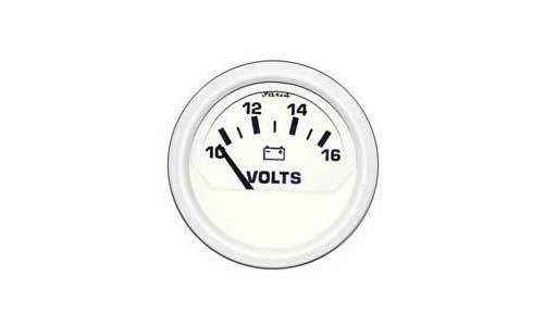 Gauge Volt 10-16V-DC Marine Dress Faria White 2 Inch