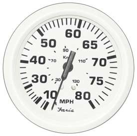 Faria Marine Speedometer 80 MPH Dress White SE9476 4 Inch
