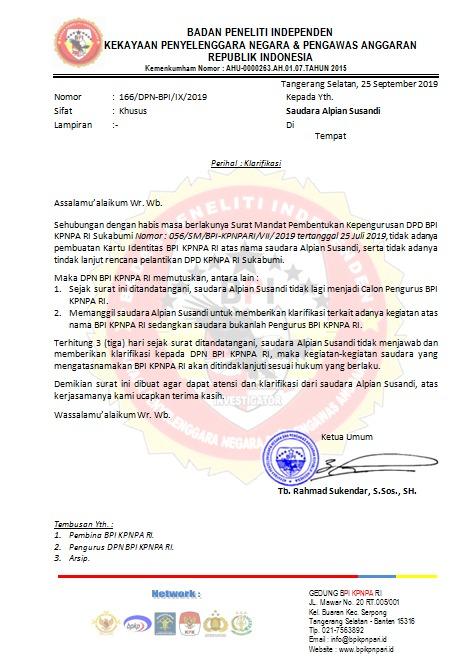 Surat panggilan Kepada saudara Alpian Susandi untuk memberikan klarifikasi terkait adanya kegiatan atas nama BPI KPNPA RI Sukabumi sedangkan saudara bukanlah Pengurus BPI KPNPA RI.