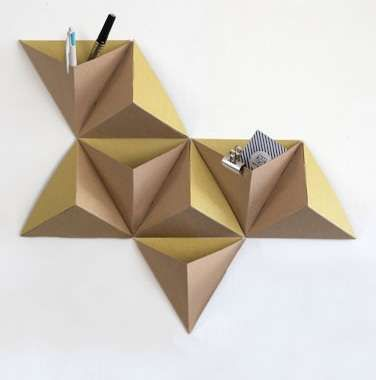 diy wall decor idea shared by bplusdesign to decor your wall easy - wall decor inspiration - 3D origami paper wall art