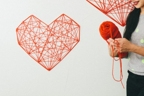 diy wall decor idea shared by bplusdesign to decor your wall easy - wall decor inspiration - string art with love and heart