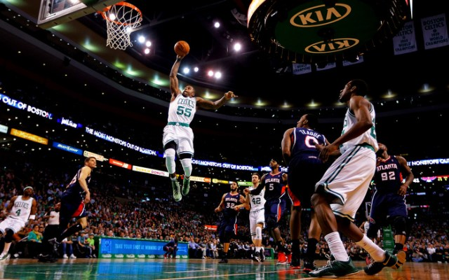 Terrence Williams #55 of the Boston Celtics dunks the ball against the Atlanta Hawks in the second quarter during the game on March 29, 2013 at TD Garden in Boston, Massachusetts.